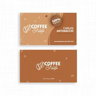 Tarjeta de visita de doble cara de cafetería.
