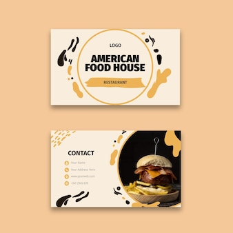 Tarjeta de visita de doble cara de comida americana.