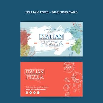 Tarjeta de visita de doble cara de comida italiana h