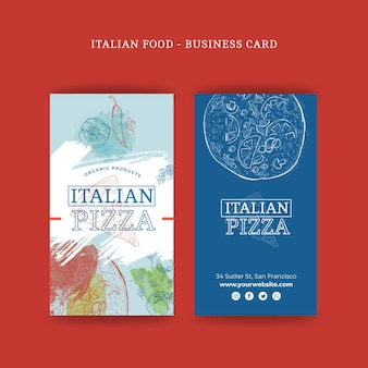 Tarjeta de visita de doble cara de comida italiana v