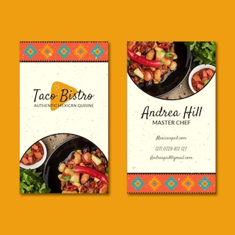Tarjeta de visita de doble cara de comida mexicana.