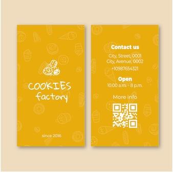 Tarjeta de visita de doble cara de cookies