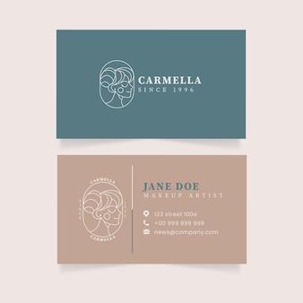Tarjeta de visita de doble cara de diseño plano