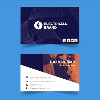 Tarjeta de visita de doble cara de electricista h