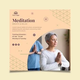 Tarjeta de visita de doble cara de meditación y atención plena
