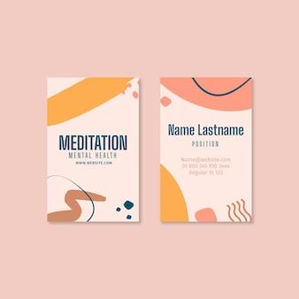 Tarjeta de visita de doble cara de meditación y atención plena.