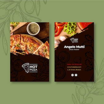 Tarjeta de visita de doble cara de restaurante de pizza.