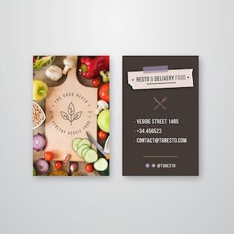 Tarjeta de visita de doble cara de restaurante saludable.