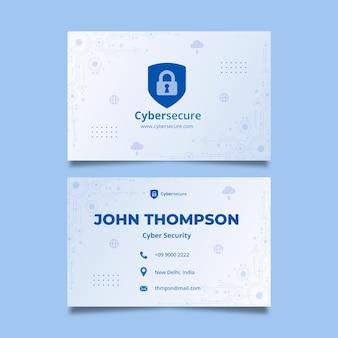 Tarjeta de visita de doble cara de seguridad cibernética