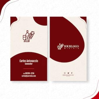 Tarjeta de visita de doble cara de vino.