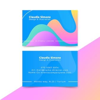 Tarjeta de visita dominante en colores azules y cálidos