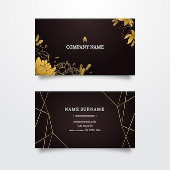 Tarjeta de visita dorada plantilla floral