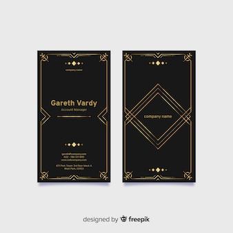 Tarjeta de visita elegante negra vertical