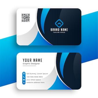 Tarjeta de visita de la empresa en color azul.