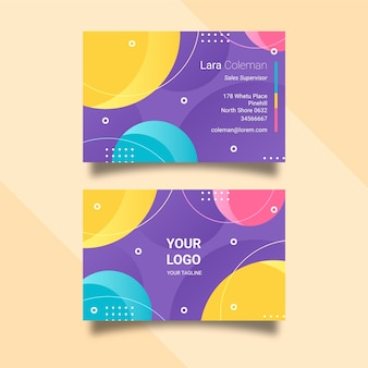 Tarjeta de visita estilo memphis con círculos de colores.
