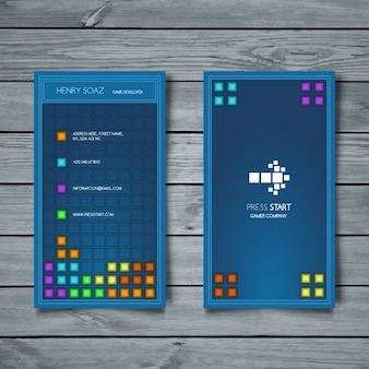 Tarjeta de visita, estilo tetris