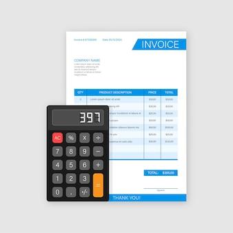 Tarjeta de visita con factura. concepto de servicio al cliente. pago en línea. pago de impuestos. plantilla de factura. ilustración de stock vectorial.