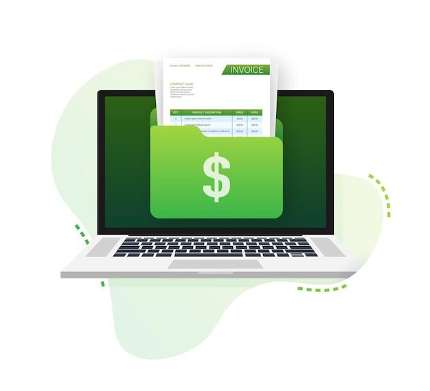 Tarjeta de visita con factura concepto de servicio al cliente pago en línea plantilla de factura de pago de impuestos