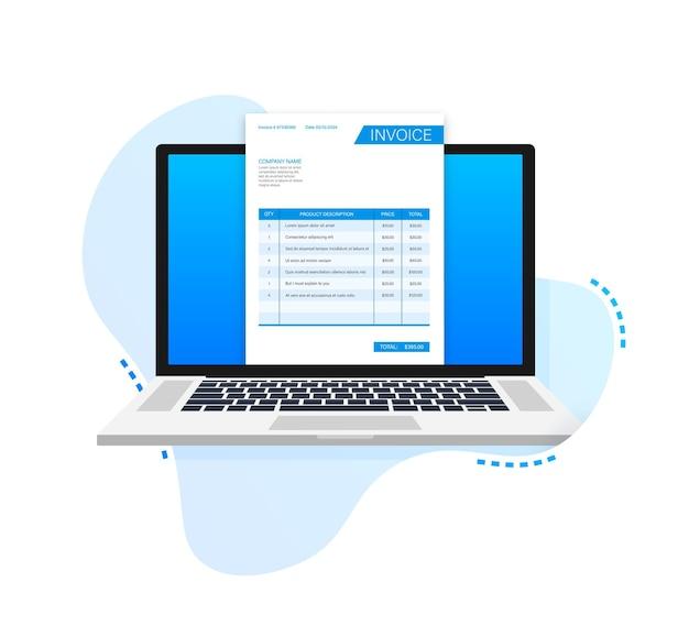 Tarjeta de visita con factura en portátil concepto de servicio al cliente pago en línea pago de impuestos