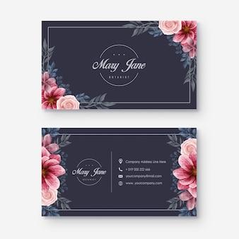 Tarjeta de visita floral de la acuarela oscura elegante
