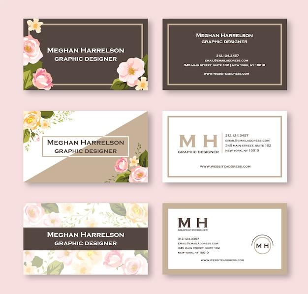 Tarjeta de visita floral acuarela rosa