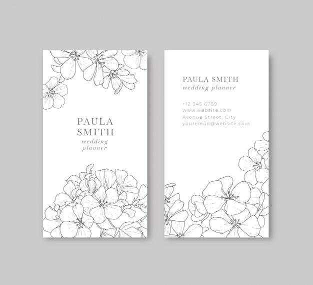 Tarjeta de visita floral blanco y negro