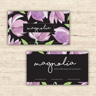 Tarjeta de visita floral elegante con elementos de acuarela