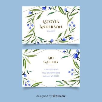 Tarjeta de visita floral con líneas doradas