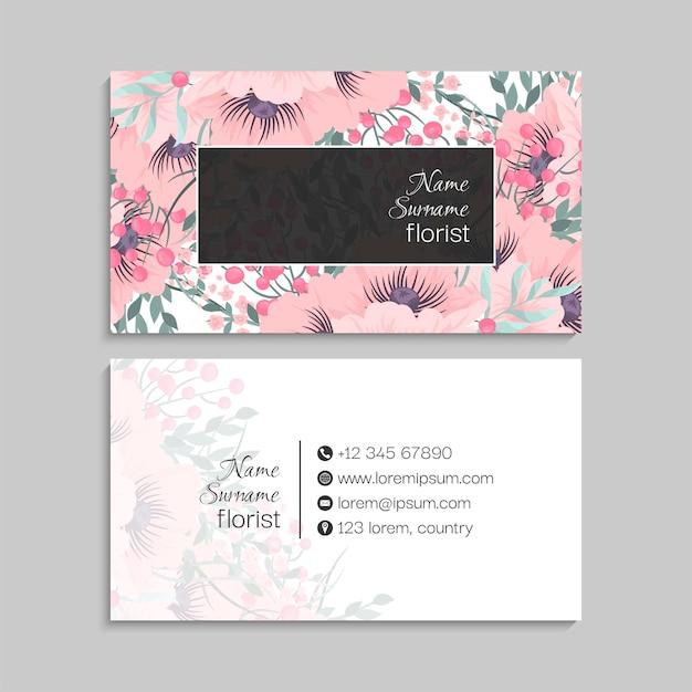 Tarjeta de visita floral con marco