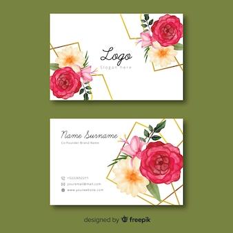 Tarjeta de visita floral con plantilla de líneas doradas