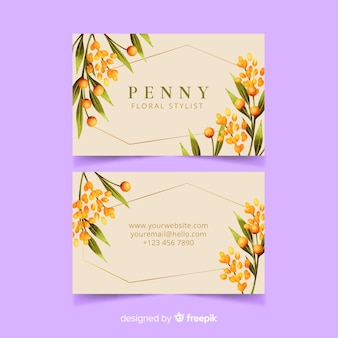 Tarjeta de visita floral plantilla con líneas doradas