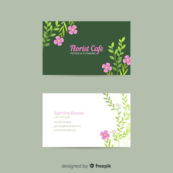 Tarjeta de visita floral plantilla