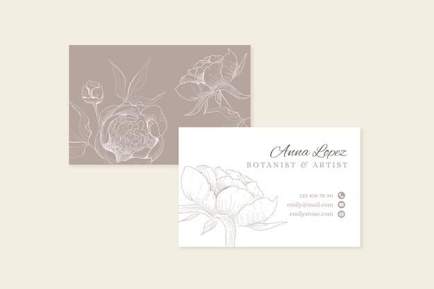 Tarjeta de visita floral realista dibujada a mano