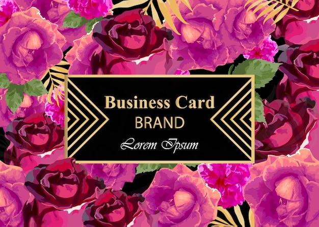 Tarjeta de visita con flores rosas acuarela. fondos de diseño moderno de composición abstracta