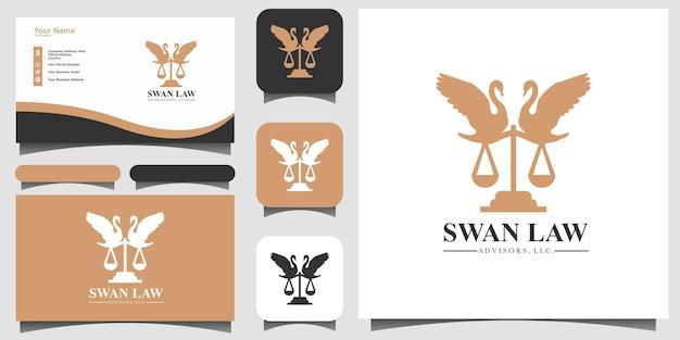 Tarjeta de visita del fondo de la plantilla del diseño del logotipo de la ley del cisne