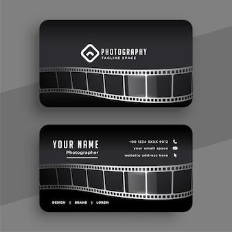 Tarjeta de visita de fotógrafos con diseño de carrete de película.