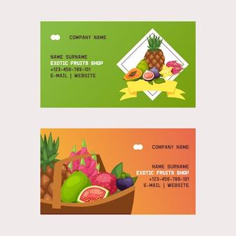Tarjeta de visita de frutas manzana afrutada plátano y papaya exótica