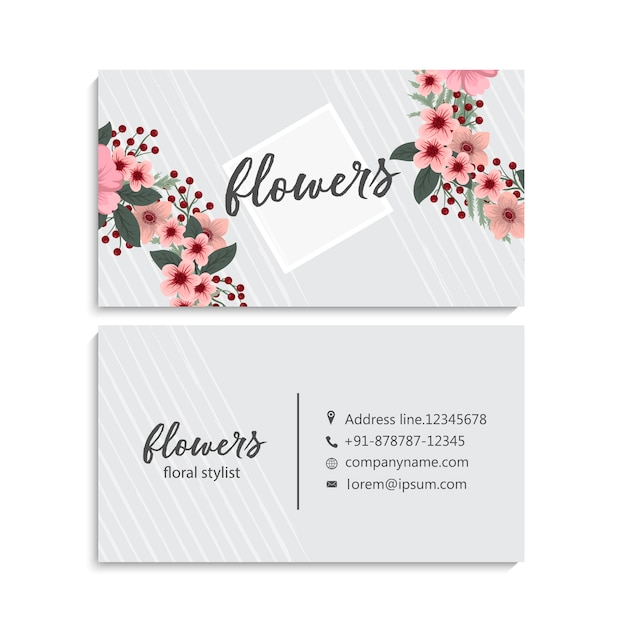 Tarjeta de visita hermosa del diseño floral