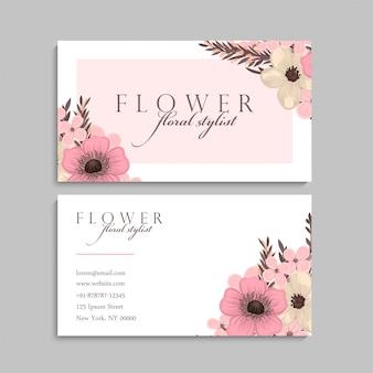 Tarjeta de visita con hermosas flores. modelo