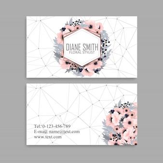 Tarjeta de visita con hermosas flores rosas