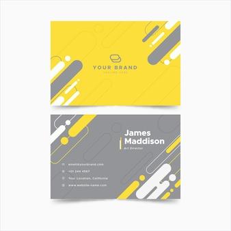 Tarjeta de visita horizontal amarilla y gris