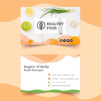 Tarjeta de visita horizontal bio y saludable.