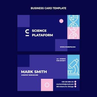 Tarjeta de visita horizontal de ciencia plana