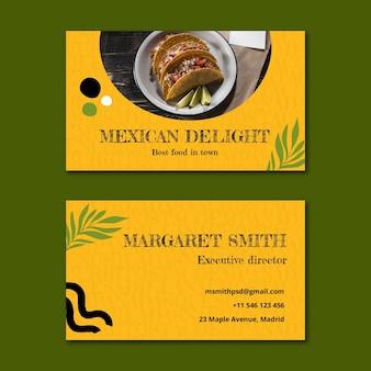 Tarjeta de visita horizontal de comida mexicana