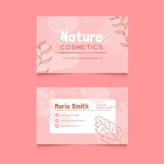 Tarjeta de visita horizontal de cosméticos naturales.