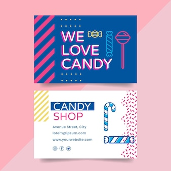 Tarjeta de visita horizontal de doble cara candy