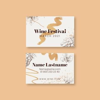 Tarjeta de visita horizontal del festival del vino.