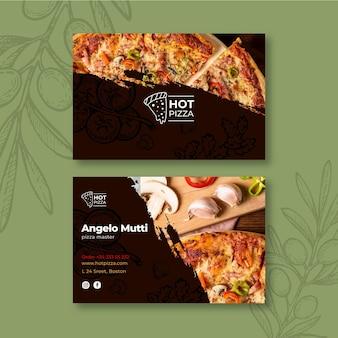 Tarjeta de visita horizontal de restaurante de pizza