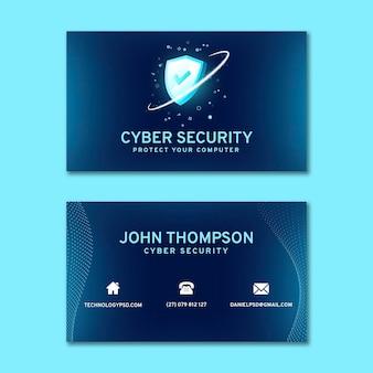 Tarjeta de visita horizontal de seguridad cibernética