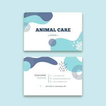 Tarjeta de visita horizontal veterinaria de doble cara.